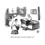 A doctor sitting on a stool and writing on a pad while his patient sits, s... - New Yorker Cartoon Impressão giclée premium por Frank Cotham