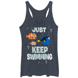 Juniors Tank Top: Finding Dory- Just Keep Swimming Ermeløse toppen for damer