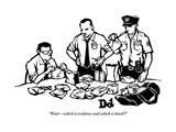 """Waitwhich is evidence and which is lunch"" - New Yorker Cartoon Premium Giclee-trykk av Drew Dernavich"