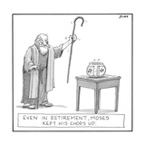 Even in retirement, Moses kept his 'chops' up. - New Yorker Cartoon Reproduction giclée Premium par Harry Bliss