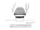 A burger is steaming between a beanie and a fedora. - New Yorker Cartoon Premium Giclee Print by Danny Shanahan