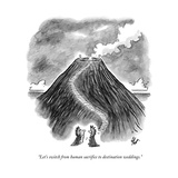 """Let's switch from human sacrifice to destination weddings."" - New Yorker Cartoon Impressão giclée premium por Frank Cotham"