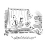 """""""He was doing well at first, but then he started drifting in and out of he"""" - New Yorker Cartoon Reproduction giclée Premium par Christopher Weyant"""