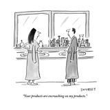 """Your products are encroaching on my products."" - New Yorker Cartoon Reproduction giclée Premium par Liza Donnelly"