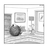 A man is stuck in a yarn ball and his cat leaves the room holding a briefc - New Yorker Cartoon Reproduction giclée Premium par Harry Bliss