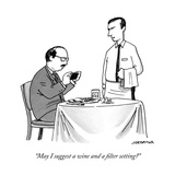 """May I suggest a wine and a filter setting"" - New Yorker Cartoon Reproduction giclée Premium par Joe Dator"
