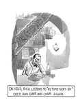 """""""ON HOLD, RICK LISTENS TO 'AS TIME GOES BY' OVER AND OVER AND OVER AGAIN."""" - New Yorker Cartoon Premium Giclee Print"""