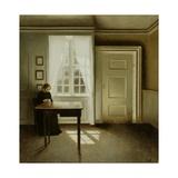 Interior with a Lady, 1901 Giclée-tryk af Vilhelm Hammershoi