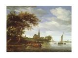 River Scene, 1663 Giclee Print by Salomon van Ruisdael or Ruysdael