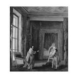 The Artist Presents a Portrait to Madame Geoffrin, 1773-74 Giclee Print by Hubert Robert