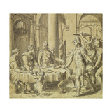 The Banquet of Dido and Aeneas, Model for a Tapestry in the Story of Aeneas Series, C.1532 Giclée-Druck von Perino Del Vaga
