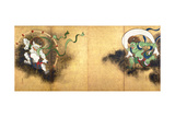 The Thunder God Raijin (left) and the Wind God Fujin (right), c.1700 Giclée-tryk af Ogata Korin
