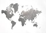 Large Silver Foil World Map 高画質プリント : ジェニファー・ゴルトベルガー