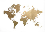Large Gold Foil World Map Konst av Jennifer Goldberger