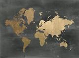 Gold Foil World Map on Black 高品質プリント : ジェニファー・ゴルトベルガー