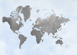 Large Silver Foil World Map on Blue Plakater af Jennifer Goldberger
