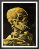 Skull with Burning Cigarette Framed Canvas Print by Vincent van Gogh