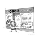 "A woman walks by a store called ""THE WINE STATION"" which has times for win... - New Yorker Cartoon Reproduction giclée Premium par Joe Dator"