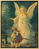 The Guardian Angel Framed Canvas Print by  The Victorian Collection