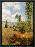 Ile Saint Martin, Vetheuil Framed Canvas Print by Claude Monet