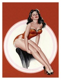 Mid-Century Pin-Ups - Eyeful Magazine - Brunette in a Red Bathing suit Posters tekijänä Peter Driben