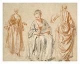 Studies of Three Women Prints by Jean-Antoine Watteau