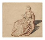 Seated Woman with a Fan Plakater af Jean-Antoine Watteau