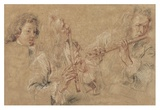 Two Studies of a Flutist and a Study of the Head of a Boy Prints by Jean-Antoine Watteau