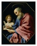 St. Matthew Writing His Gospel Láminas por Carlo Dolci