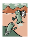 A fish patents evolution - Cartoon Premium Giclee Print by Christoph Niemann