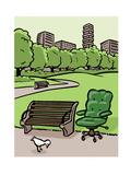 A office chair sits in the park - Cartoon Impressão giclée premium por Christoph Niemann