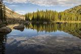 A Beautiful Alpine Lake Glows in the Morning Light, Deep in the Swan Mountain Range Bedruckte aufgespannte Leinwand von Ami Vitale