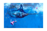 Wet Fly and Blue Marlin, Bill Wrapped with Cyanea Jellies: Giant Blue Marlin and a Salt Water Fly Giclée-Druck von Stanley Meltzoff