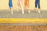 Professional Ballerinas Wearing Ballet Shoes with Jeans Lámina fotográfica por Kike Calvo