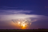 A Tornadic Supercell Thunderstorm, over 80 Miles Away, with a Large Tornado Touching Ground Photographic Print by Mike Theiss