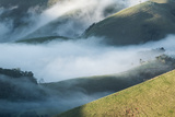 A Low-Hanging Mist in the Early Morning over Sao Francisco Xavier's Rolling Hills and Farmland Impressão fotográfica por Alex Saberi