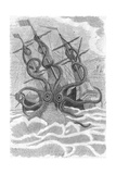 Colossal Octopus Attacking Ship, 1801 Giclee Print by  Science Source