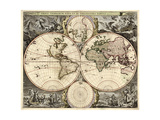 World Map, 1690 Giclee Print by  Science Source