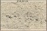 Paris Map Posters af John Butler