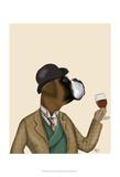 Boxer Wine Snob Schilderijen van  Fab Funky