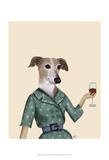 Greyhound Wine Snob Pósters por  Fab Funky