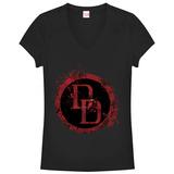 Women's: Daredevil- Splatter Logo V-Neck Womens V-Necks