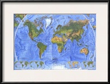 1975 Physical World Map Prints by  National Geographic Maps