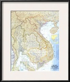1967 Vietnam, Cambodia, Laos, and Thailand Map Prints