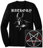 Long Sleeve: Bathory- White Baphomet (Front/Back) T-shirt a maniche lunghe