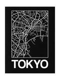 Black Map of Tokyo Poster par  NaxArt
