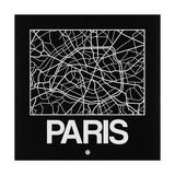 Black Map of Paris Poster av  NaxArt