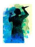 Psycho in the Shower Watercolor Art by Lora Feldman