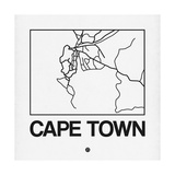 White Map of Cape Town Print by  NaxArt