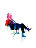 Darth in the Chair Watercolor Kunstdrucke von Lora Feldman